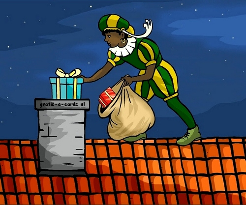 Zwarte Piet Op Het Dak Gooit Cadeaus In De Schoorsteen